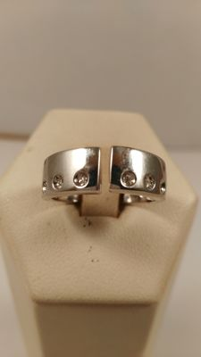 Sterling silver ring with diamonds (0.06 ct) - Size 15