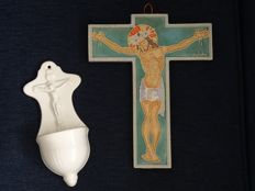 Cloisonné ceramic cross Hermanus Walstra and holy water vessel Société Céramique - the Netherlands - late 19th/1st half 20th century