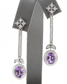 "4.66 ct Gold earrings with natural Amethyst & Diamonds ""No Reserve"""