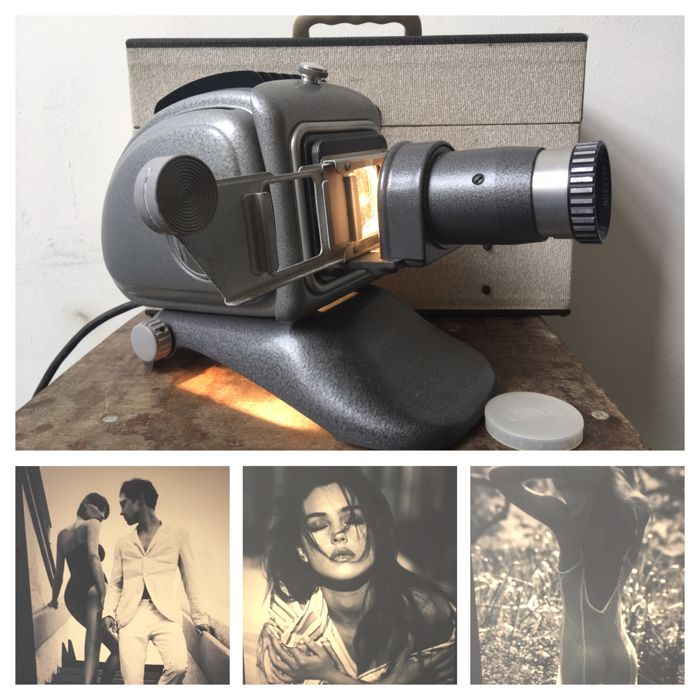 Noris Trumpf slide projector in box with four stylish slides, 60s, Germany 63311dc3c356