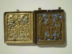 Lot of two Russian brass travel icons 19th century icon