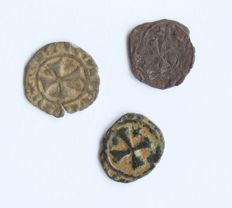 3 Crusader coins from the Holy War; Crusaders were believed to be the origin of the Freemasonery.