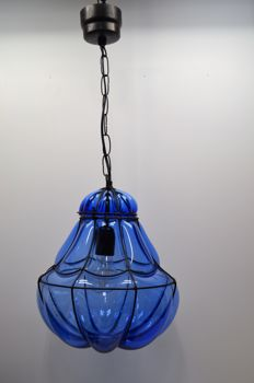 Venetian hanging lamp in clear blue glass