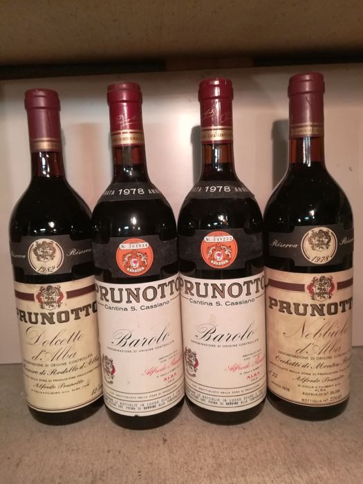 Prunotto: 2x 1978 Barolo & 1x 1978 Nebbiolo d'Alba & 1x 1982 Dolcetto d'Alba - 4 bottles in total