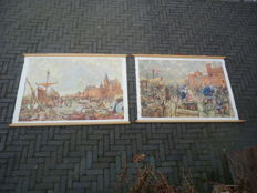Two beautiful history school posters: 'De Hanzestad Kampen 1441' and 'Jacoba van Beieren for Gorinchem, 1417'