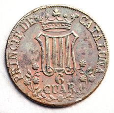 Spain - Isabel II - 6 quarters in copper - 1846 - Catalonia