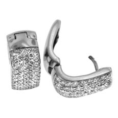 Modern 1+ct Pavé-set Diamond Earrings, as new.