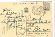 "Italy, 1944 – AMGOT, 30 cents on ""Vinceremo"" postcard, with effigy of the King, from Trapani to Palermo – Sass. No. 3."