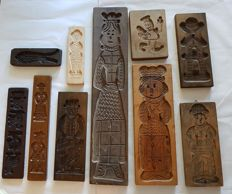 Large Collection of Ten Beech, Hard -and Oak wooden Old Dutch Speculaas (Gingerbread) Board / Cookie Boards up to 69 cm