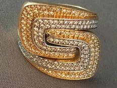 Bi-colour, 14 kt ring with many stones - 18 mm
