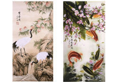 2 Painting signed by Yan Ling - China - late 20th century
