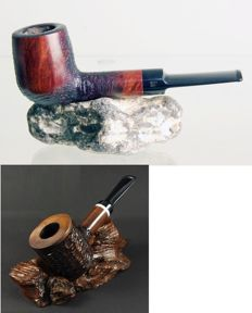 2x pipes - Danske Club pipe in walnut briar  + Mr. Brog pipe in pear wood