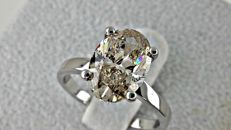 2.75 ct oval  diamond ring 14 kt gold - size 6,5