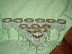 Crystal glass Germany 1950's, 12 glasses. Gilding. Very good condition.