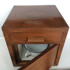 Solid wooden bedside table with enamel bedpan