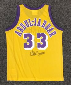Kareem Abdul-Jabbar 2x Dual Signed #33 LA Lakers Jersey CAS COA Autographed by NBA USA HOF signiert Jersey