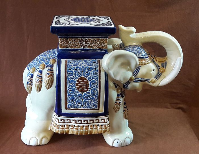 Very Large Ceramic Elephant A Planter Or Side Table Height 57 Cm