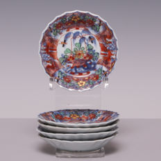 """Set of 5 plates decorated in """"Amsterdam bont"""" - China - 18th century"""