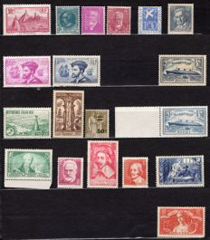 France 1934-1935 - Two complete years - Yvert No. 290-308.