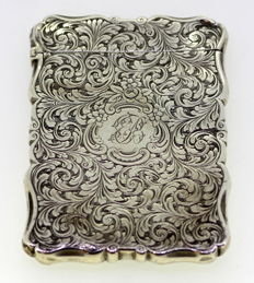 Victorian silver floral engraved card holder with owners initials - Nathaniel Mills - Birmingham - 1851