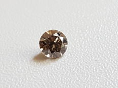 Cert 0.52 Fancy Intense Brown VS1 Round Brilliant Enhanced Natural Diamond ** low reserve price **
