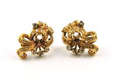 Antique Diamond (+/-0.65ct) & Yellow 18k Gold Earrings