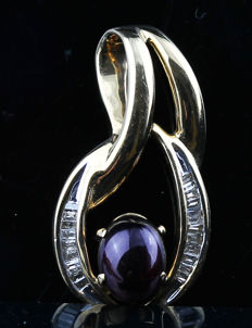 A Beautiful New Ladies Pendant with Oval Cabochon cut Purplish Red stone total 2.97 ct and Baguette cut Diamonds total 0.35 ct
