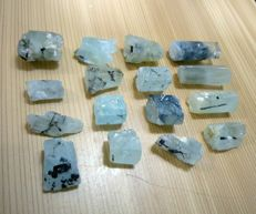 Rare Combination Of Black Tourmaline Crystals in Blue Aquamarine Crystals Lot - 235 ct (16)