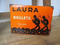 Enamel advertising sign Laura eierkolen - 1950s