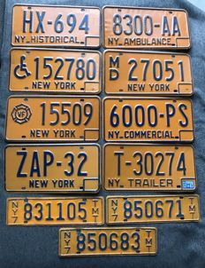 NEW YORK state - 11 license plates - Historical car, Handicapped person, Volunteer Firefighter, Ambulance, Medical Doctor