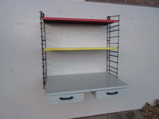 A. Dekker for Tomado – Industrial wall rack with a writing desk with drawers
