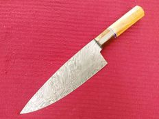 Large handmade chef / kitchen knife - Damascus steel