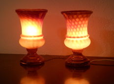 A Pair of Opaline Controlled Bubbles Glass Table Lamps, ca. 1960's