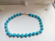 Bracelet with 18kt fine turquoise gold beads