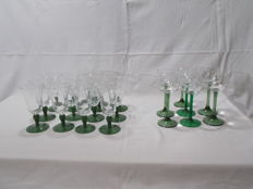 22 pieces of wine glasses and water, vintage, crystal and glass style drop of water. France and Italy.