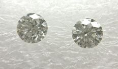 Couple of 2 Round cut diamonds total 0.88 ct F VVS2    -No Reserve