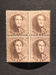 Belgium 1863 - Leopold I 10 centimes dark brown in block of 4 - OBP 15B