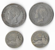 Spain - 2 Coins of 5 Pesetas Silver Alfonso XIII and 2 Coins of 2 Pesetas Provisional Government