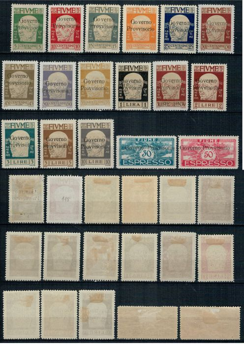 Fiume 1918/1920 - Selection of complete series and single stamps