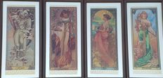 "Large Mirrors ""Les Quatre Saisons"" Alphonse Mucha - Art Nouveau - Four Glass Paintings. 1ª Half 20th Century"