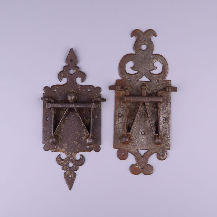 Two antique wrought iron double spring locks - Italy, 17th century