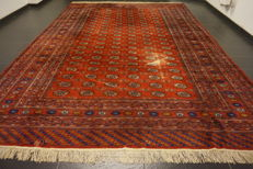 Old Hand-knotted Persian carpet, Yomut Bukhara, patina, silky shine, 320 x 420 cm