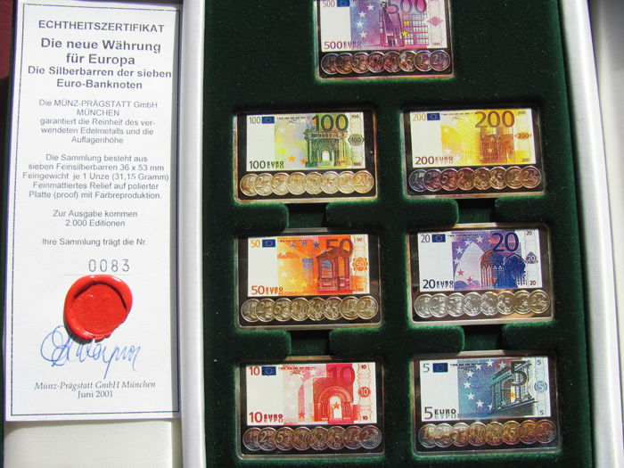Germany - 7 banknotes - 5, 10, 20, 50, 100, 200, and 500 Euros from 2001 in the form of 999.9 silver bullion (7 x 31.15 g) - with certificate