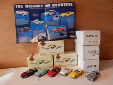 Matchbox - Schaal 1/43 - Kavel met 6 modellen: CCV01  t/m  CCV06 - de  Corvette collection