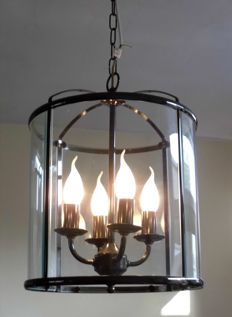 Large bronze colour, cylinder-shaped hanging lamp, with four light points, second half 20th century