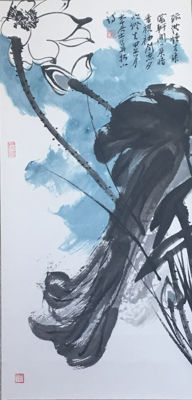 Hand painted scroll painting made after Zhang Daqian(张大千)- China - late 20th century