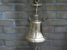 Antique brass ship's bell (replica) with shipping company stamp and year