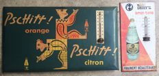 2 signs in sheet metal with thermometer - Pschitt orange citron / Deny's lemon tonic - 1950s-60s
