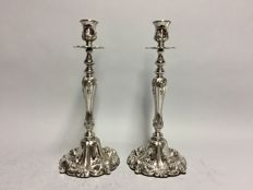 Set of one-light high nickle candlesticks with stunning decor, England, ca 1930