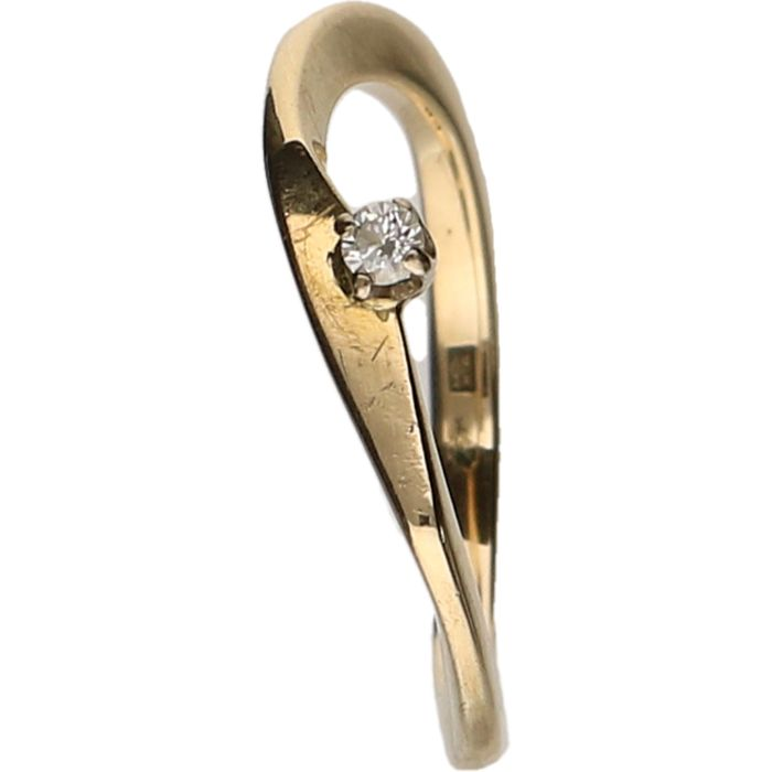 14 kt Yellow gold design ring set with a diamond of approx. 0.04 ct - Ring size: 17 mm